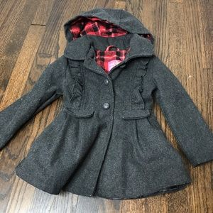 Girls gray hooded peacoat 4